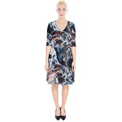 Abstract Flow River Black Wrap Up Cocktail Dress by Nexatart