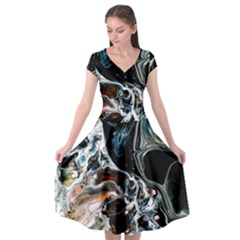 Abstract Flow River Black Cap Sleeve Wrap Front Dress