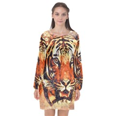 Tiger Portrait Art Abstract Long Sleeve Chiffon Shift Dress