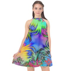 Star Abstract Colorful Fireworks Halter Neckline Chiffon Dress