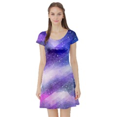 Background Art Abstract Watercolor Short Sleeve Skater Dress