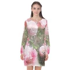 Flowers Roses Art Abstract Nature Long Sleeve Chiffon Shift Dress  by Nexatart