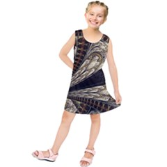 Fractal Abstract Pattern Spiritual Kids  Tunic Dress
