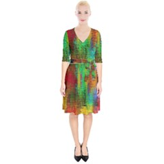 Color Abstract Background Textures Wrap Up Cocktail Dress by Nexatart