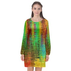 Color Abstract Background Textures Long Sleeve Chiffon Shift Dress