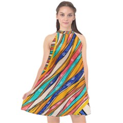 Fabric Texture Color Pattern Halter Neckline Chiffon Dress