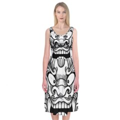 Japanese Onigawara Mask Devil Ghost Face Midi Sleeveless Dress