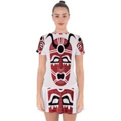 Africa Mask Face Hunter Jungle Devil Drop Hem Mini Chiffon Dress by Alisyart