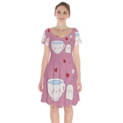 Cute Tea Short Sleeve Bardot Dress by Valentinaart