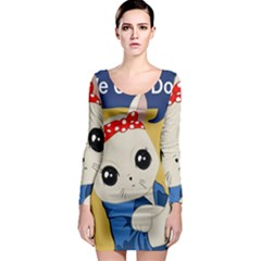 Feminist Cat Long Sleeve Bodycon Dress by Valentinaart