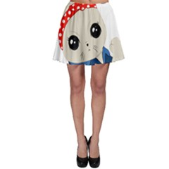 Feminist Cat Skater Skirt by Valentinaart
