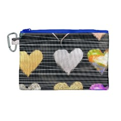 Modern Heart Pattern Canvas Cosmetic Bag (large) by 8fugoso