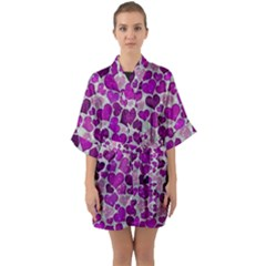 Sparkling Hearts Purple Quarter Sleeve Kimono Robe by MoreColorsinLife