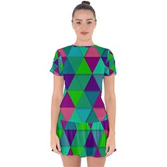 Background Geometric Triangle Drop Hem Mini Chiffon Dress by Nexatart