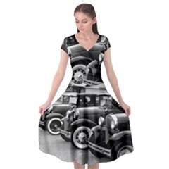 Vehicle Car Transportation Vintage Cap Sleeve Wrap Front Dress