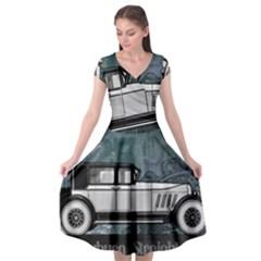 Vintage Car Automobile Auburn Cap Sleeve Wrap Front Dress by Nexatart