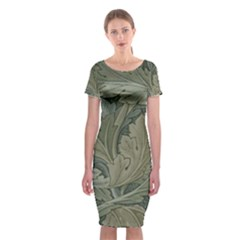 Vintage Background Green Leaves Classic Short Sleeve Midi Dress