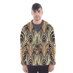 Gold, Black,peacock Pattern,art Nouveau,vintage,belle Epoque,chic,elegant,peacock Feather,beautiful Hooded Wind Breaker (men) by 8fugoso