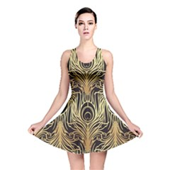 Gold, Black,peacock Pattern,art Nouveau,vintage,belle Epoque,chic,elegant,peacock Feather,beautiful Reversible Skater Dress by 8fugoso
