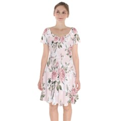 Pink Shabby Chic Floral Short Sleeve Bardot Dress by 8fugoso