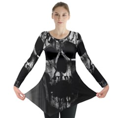 Black And Grey Nightmare Long Sleeve Tunic  by vwdigitalpainting