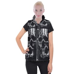 Black And Grey Nightmare Women s Button Up Puffer Vest by vwdigitalpainting