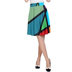 Modern Abstract A Line Skirt by vwdigitalpainting