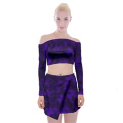 Midnight Off Shoulder Top With Mini Skirt Set by vwdigitalpainting