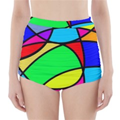 Abstract Curves High Waisted Bikini Bottoms by vwdigitalpainting