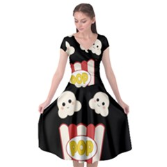 Cute Kawaii Popcorn Cap Sleeve Wrap Front Dress by Valentinaart