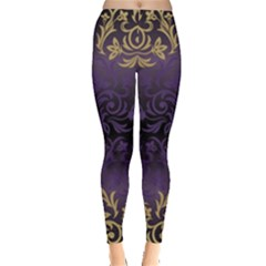 Art Nouveau,vintage,damask,gold,purple,antique,beautiful Leggings  by 8fugoso