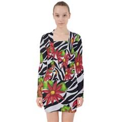 Floral Zebra Print V Neck Bodycon Long Sleeve Dress by dawnsiegler
