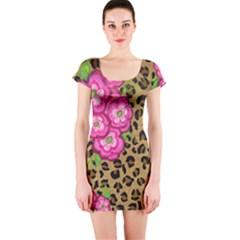 Floral Leopard Print Short Sleeve Bodycon Dress by dawnsiegler