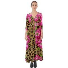 Floral Leopard Print Button Up Boho Maxi Dress by dawnsiegler