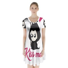 Cute Grim Reaper Short Sleeve V Neck Flare Dress by Valentinaart