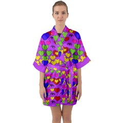 I Love This Lovely Hearty One Quarter Sleeve Kimono Robe by pepitasart