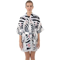 White Rabbit In Wonderland Quarter Sleeve Kimono Robe by Valentinaart