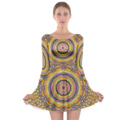 Wood Festive Rainbow Mandala Long Sleeve Skater Dress by pepitasart