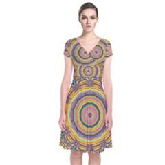 Wood Festive Rainbow Mandala Short Sleeve Front Wrap Dress by pepitasart