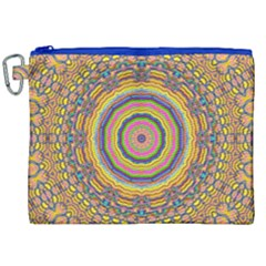 Wood Festive Rainbow Mandala Canvas Cosmetic Bag (xxl) by pepitasart
