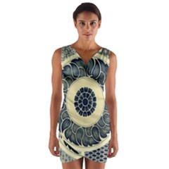 Background Vintage Japanese Wrap Front Bodycon Dress