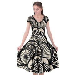 Background Abstract Beige Black Cap Sleeve Wrap Front Dress