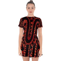 Background Abstract Red Black Drop Hem Mini Chiffon Dress