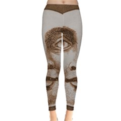 Moon Face Vintage Design Sepia Leggings