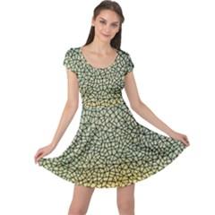Background Cubism Mosaic Vintage Cap Sleeve Dress