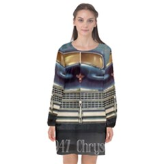 Vintage Car Automobile Long Sleeve Chiffon Shift Dress  by Nexatart