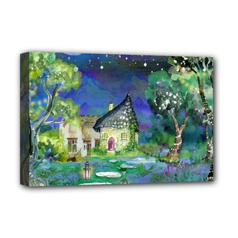 Background Fairy Tale Watercolor Deluxe Canvas 18  X 12   by Nexatart