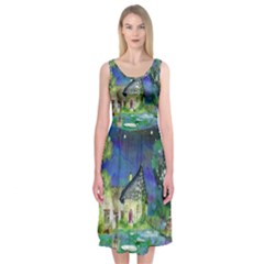 Background Fairy Tale Watercolor Midi Sleeveless Dress
