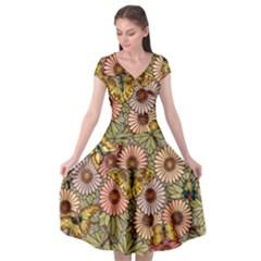 Flower Butterfly Cubism Mosaic Cap Sleeve Wrap Front Dress by Nexatart