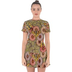 Flower Butterfly Cubism Mosaic Drop Hem Mini Chiffon Dress by Nexatart